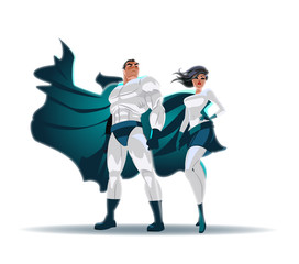 Superhero Couple: Male and female superheroes, posing in front of a light. Isolated