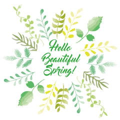Hello spring greeting card sketchy style, vector design
