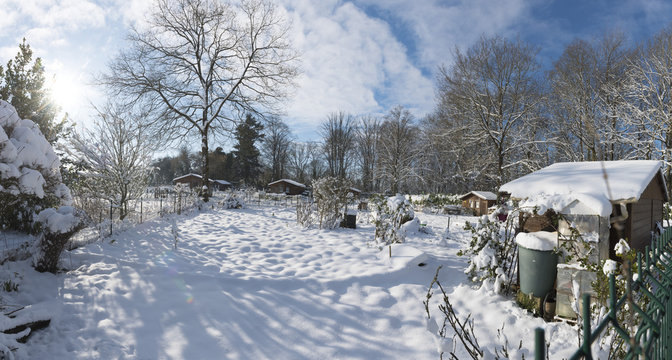 jardins familiaux sous la neige