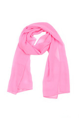 Pink women's scarf, shawl isolated on white background