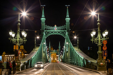 Liberty Bridge,night, Budapest, Hungary.December 29, 2017
