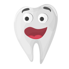 Healthy cute cartoon tooth character on white background