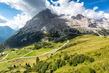 Marmolada glacier - majestic Queen of Dolomites and Passo di Fedaia, Dolomites mountains, Italy