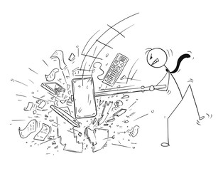 Cartoon stick man drawing conceptual illustration of angry businessman destroying his office computer by large sledgehammer or hammer.