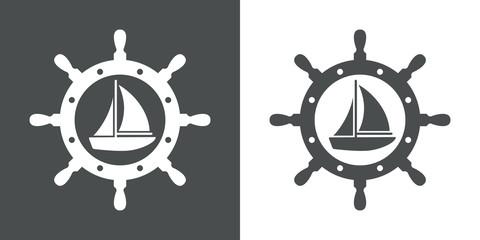 Icono plano velero en timon gris y blanco
