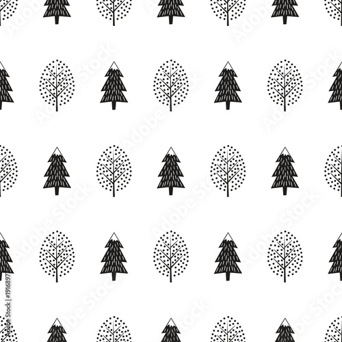 Black and white cute winter trees seamless pattern. Simple