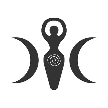 Vector illustration for Wiccan community: Spiral Goddess also known as Luna or Triple Goddess symbol.