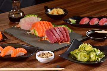 Japanese food on restaurant table