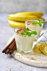 Banana smoothie with cinnamon.