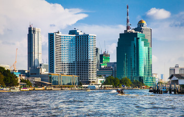 Fototapete - Business district cityscape  in Bangkok Thailand.