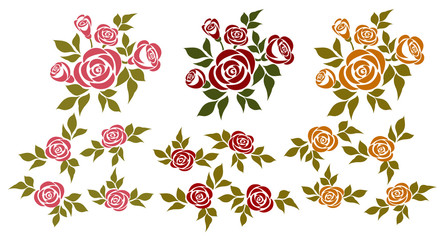 Set of roses. Vector set of isolated bouquets of roses and design elements.