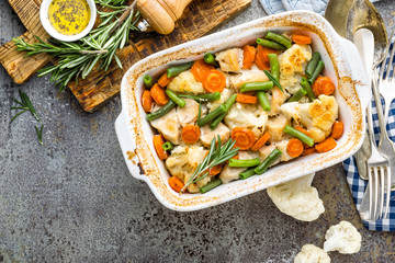 Chicken fillet, meat baked with cauliflower, carrot and green beans