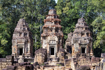 Front view of Preah Ko temple, Cambodia. This temple was the first to be built in the ancient and now defunct city of Hariharalaya, in the area that today is called Roluos. Was dedicated to Shiva