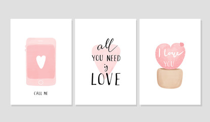 Set of cards for Valentine's Day, vector illustration