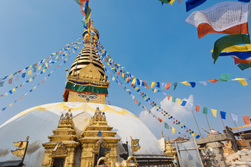 Printed kitchen splashbacks Nepal Swoyambhu Stupa Kathmandu Nepal praying flags