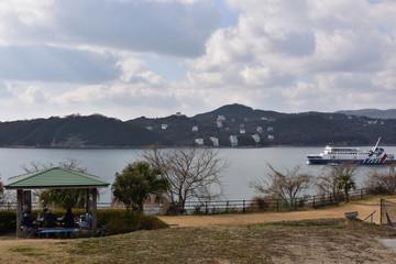 日本の岡山県の片上湾
