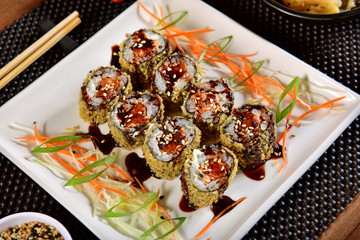 Fried sushi with sweet sauce