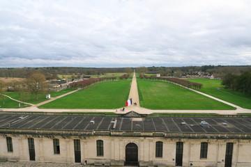 Loir-et-Cher,France-January 24,2018: Beautiful garden of Chateau de Chambord