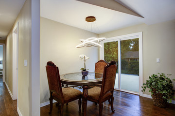 Beautiful dining room with vintage dining table