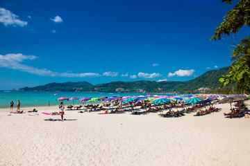 Tourists at Patong beach in Phuket, Thailand.
