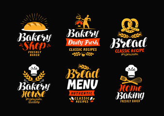 Bakery, bakehouse logo or label. Bread, home baking icon. Lettering vector illustration