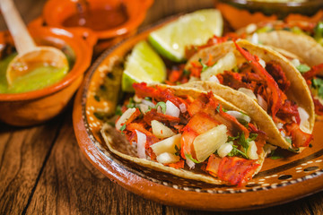 taco al pastor and lemon mexican food in mexico city