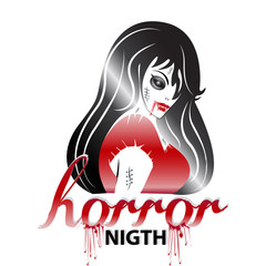 Halloween horror young woman vampire logo