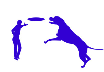 Frisby, man and dog