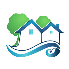 Real estate house trees and waves logo vector