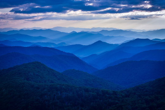 blue ridge mountains with blue sky