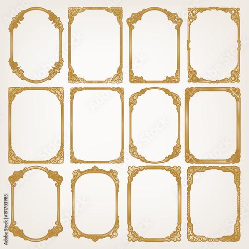 set of golden vintage frame\