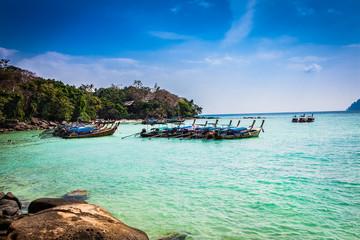 Boats at Viking beach in Ko Phi Phi island , Thailand.