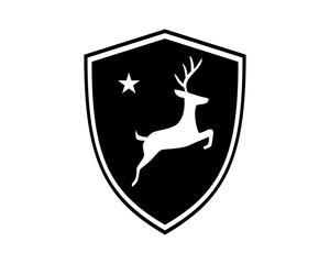 black shield reindeer deer elk stag image vector icon logo