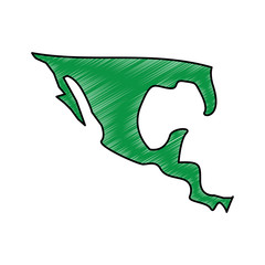 silhouette map of mexico country vector illustration drawing green image