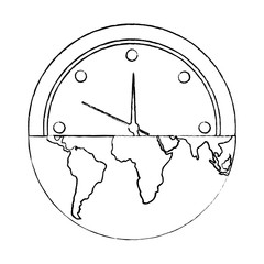 earth globe clock time ecology concept vector illustration sketch image