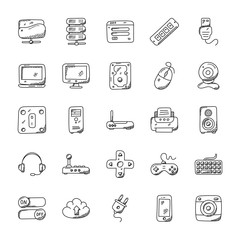 Technology Hand Drawn Icons