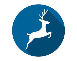 blue circle reindeer silhouette reindeer deer elk stag image vector icon logo