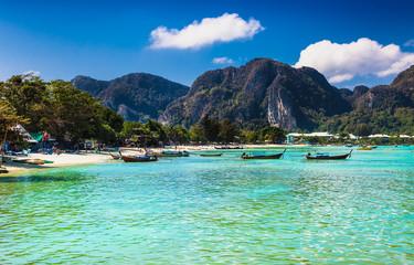 Panorama of tropical islands Phi Phi Don, Thailand