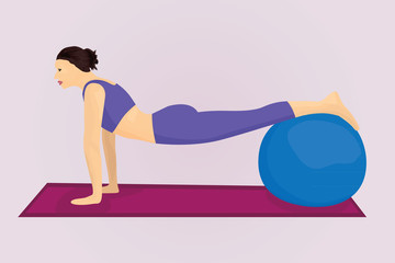 A plank position with a ball
