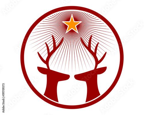 Star Deer Head Reindeer Deer Elk Stag Image Vector Icon Logo