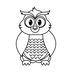 line owl cute wild animal character