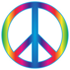 Rainbow Peace Sign Flat Icon