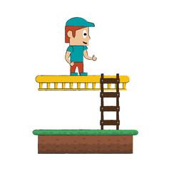 Pixelated game scenery icon vector illustration graphic design