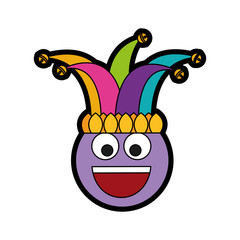 happy emoticon smile jester hat funny vector illustration