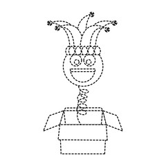 joke box prank smile with jester hat fools party vector illustration dotted line design