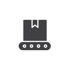 Conveyor belt with box icon vector, filled flat sign, solid pictogram isolated on white. Logistics symbol, logo illustration.