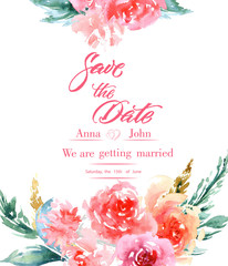 Calligraphy Save The Date. Watercolor Flowers Invitation Modern Calligraphy. Save The Date Calligraphy