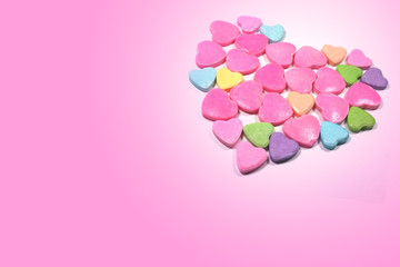 Closed up group of colorful love candy