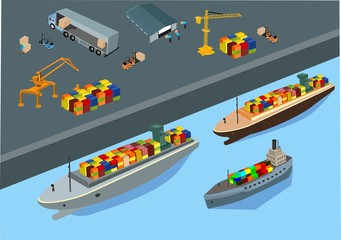 Isometric concept, view of the sea port above, working process vector illustration. Port cranes, trucks, workers, ships. Shipping theme.