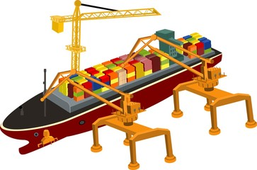 Port cranes and bulk carrier with containers isometric concept  vector illustration. Shipping theme.